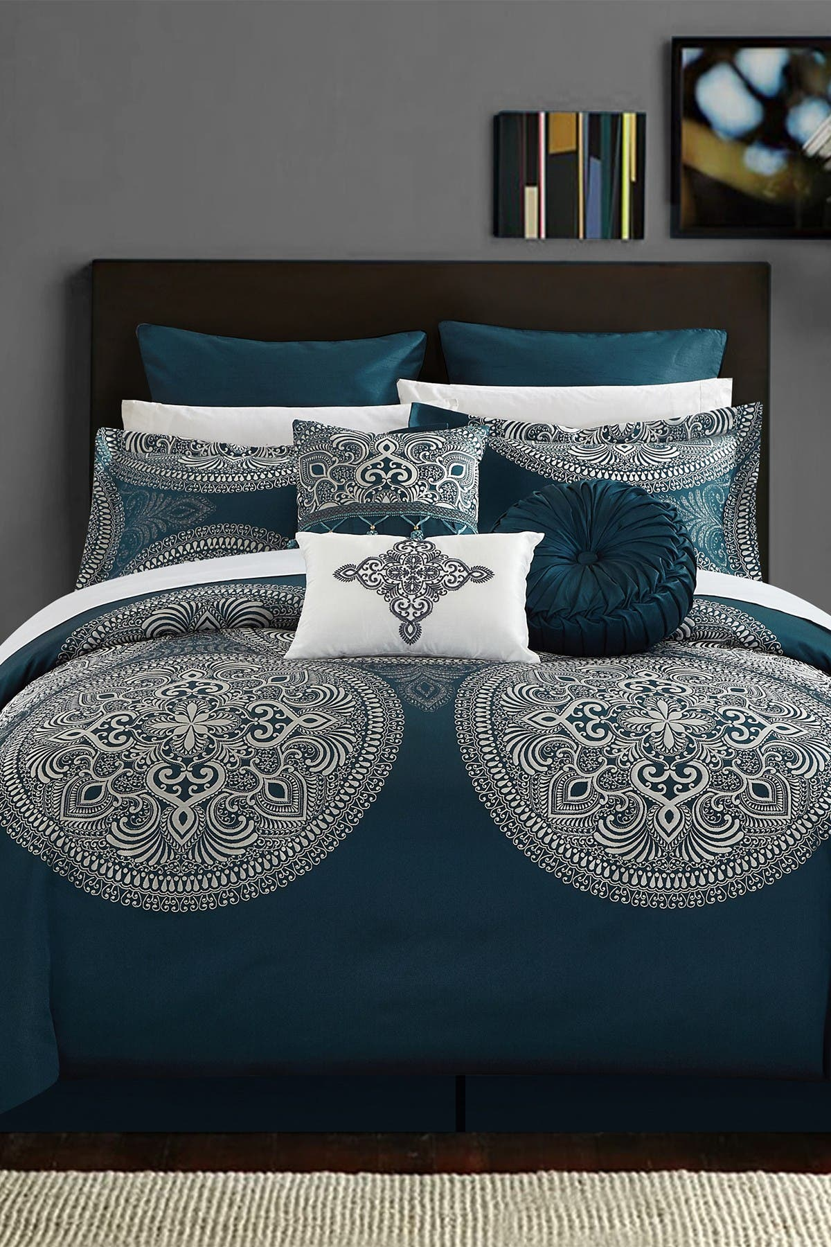 Image of Chic Home Bedding King Lira Faux Silk Luxury Large Medalion Jacquard with Embroidery Details and Trims Comforter 9-Piece Set - Blue