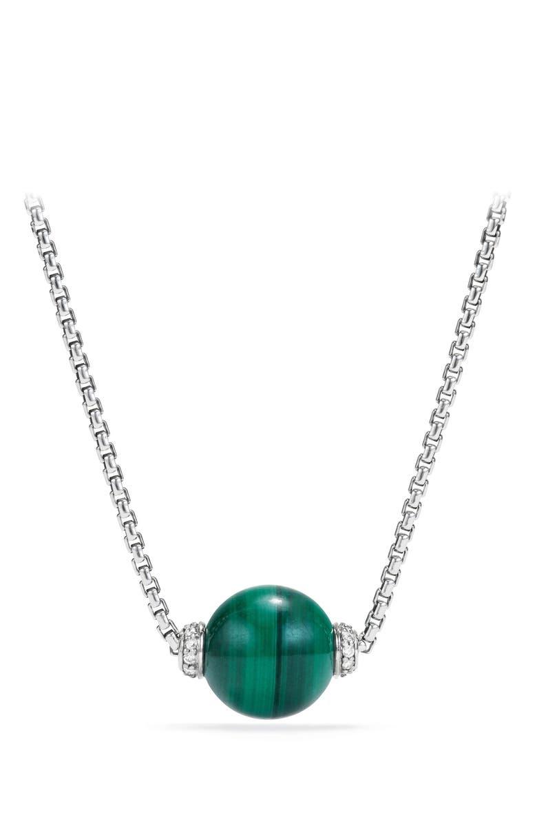 DAVID YURMAN Solari Pendant Necklace with Diamonds, Main, color, SILVER/ DIAMOND/ MALACHITE