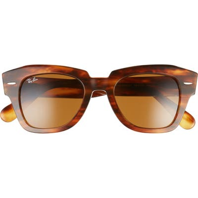 Ray-Ban State Street 4m Square Sunglasses - Striped Havana/ Brown Solid