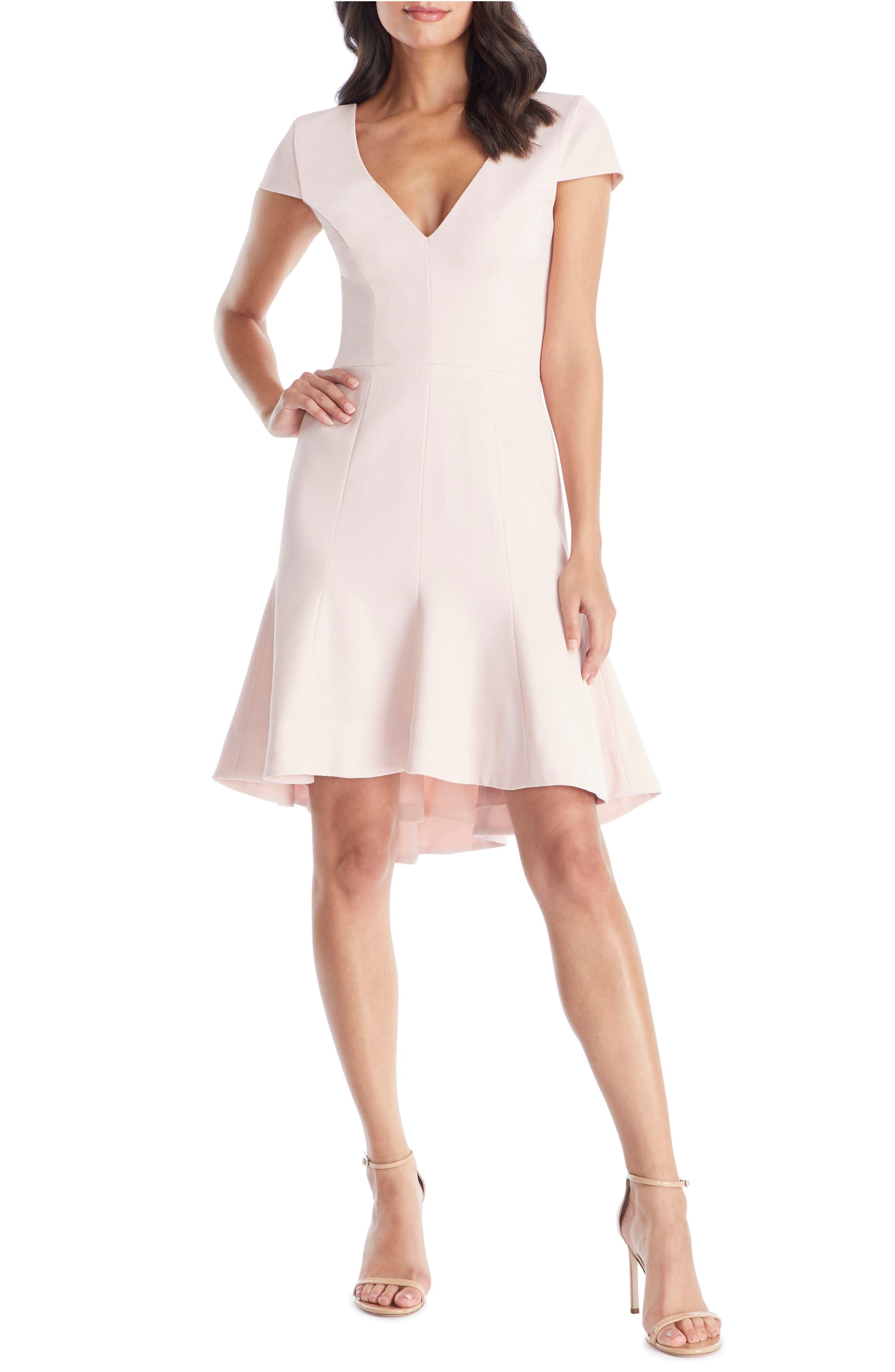 Dress The Population Bettie High/low Ruffle Hem Cocktail Dress, Pink