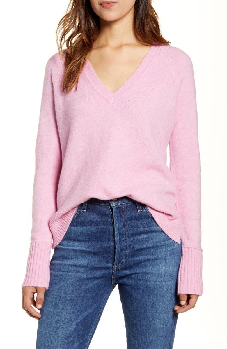 J.CREW Supersoft Yarn V-Neck Sweater, Main, color, HEATHER WILD PETUNIA