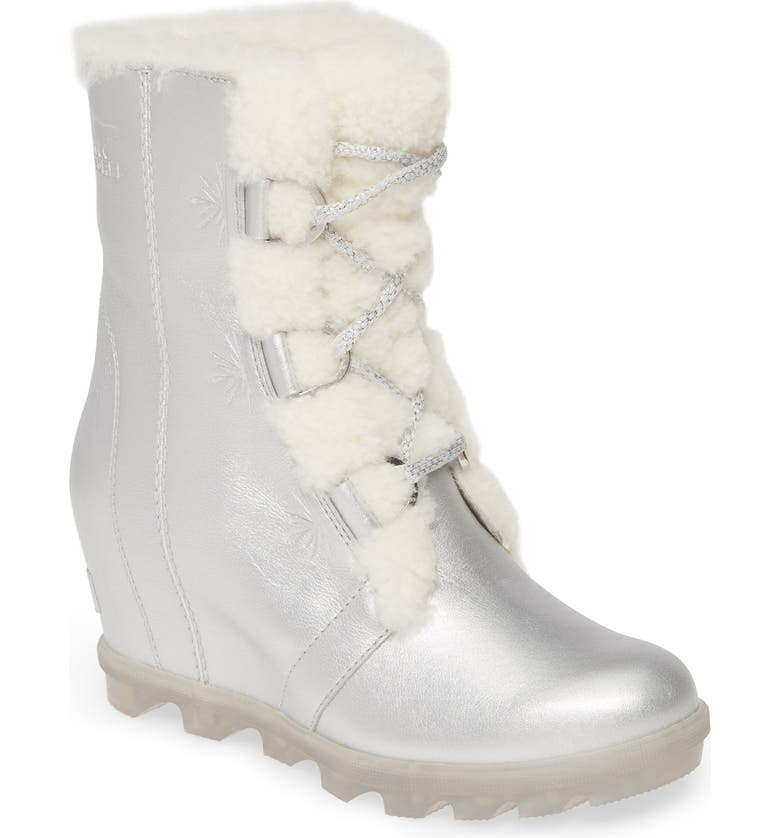 SOREL x Disney 'Frozen' Joan of Arctic II Waterproof Wedge Boot, Main, color, PURE SILVER LEATHER