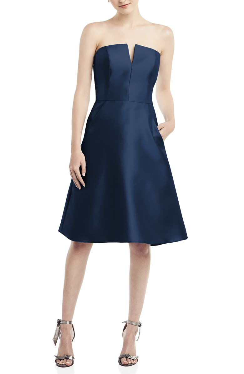 ALFRED SUNG Strapless Satin Twill Cocktail Dress, Main, color, MIDNIGHT