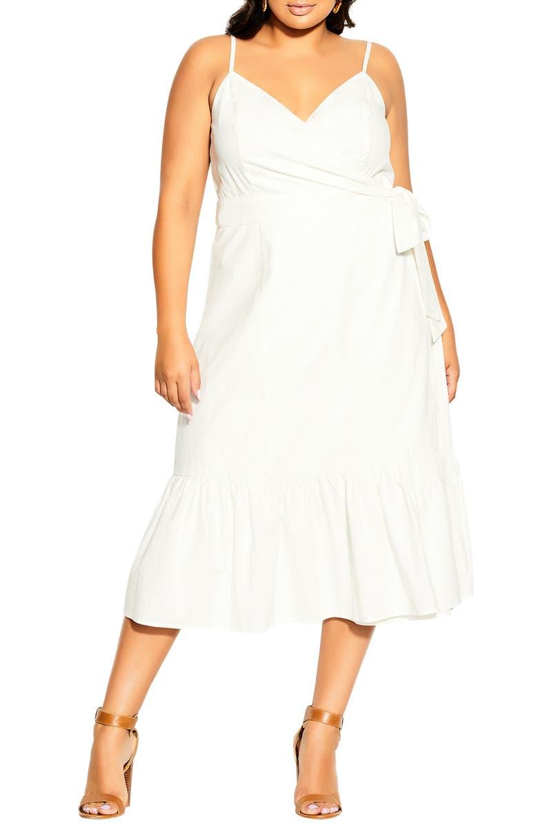 CITY CHIC Cotton & Linen Wrap Dress, Main, color, IVORY