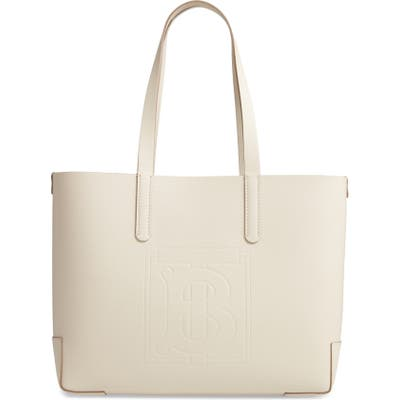 Burberry Embossed Monogram Leather Tote - Ivory