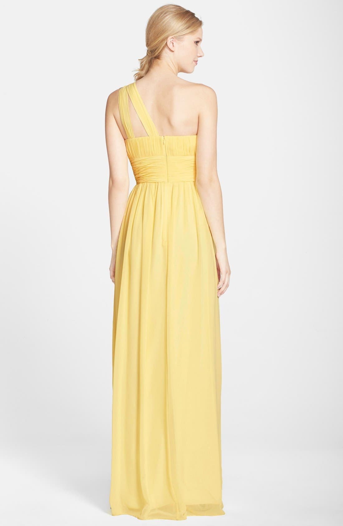 ,                             'Rachel' Ruched One-Shoulder Chiffon Gown,                             Alternate thumbnail 123, color,                             750