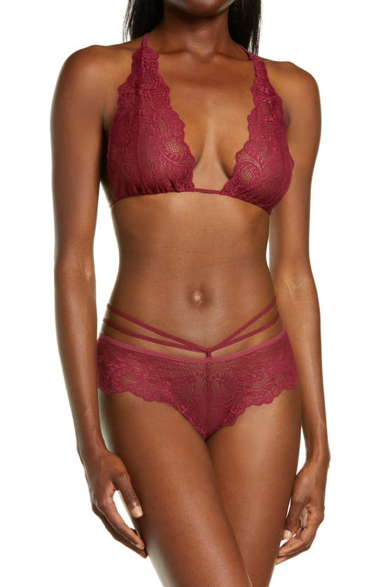 Mapalé Lace Bralette & Strappy Thong Set In Burgundy