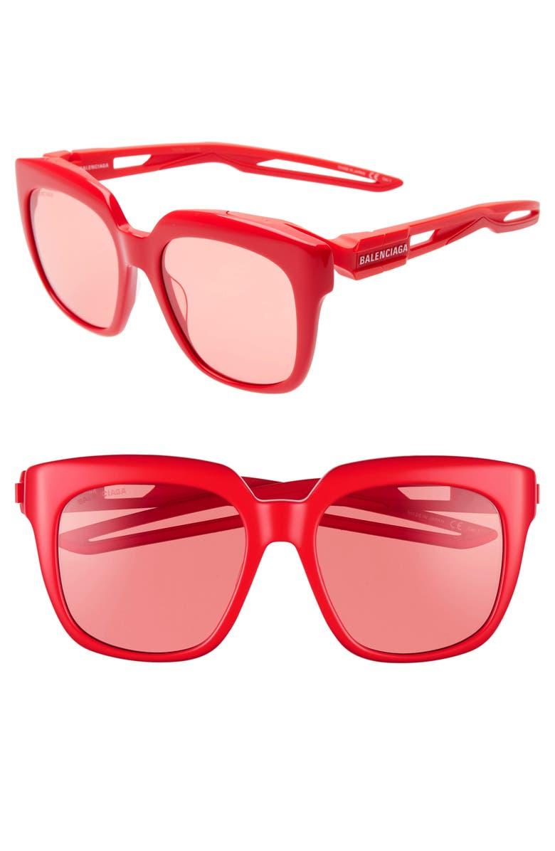 BALENCIAGA 54mm Square Sunglasses, Main, color, SHINY SOLID RED/ RED