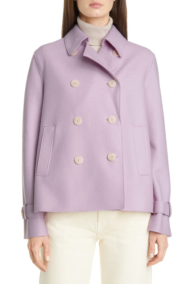HARRIS WHARF LONDON Pressed Wool Crop Trench Coat, Main, color, LAVENDER