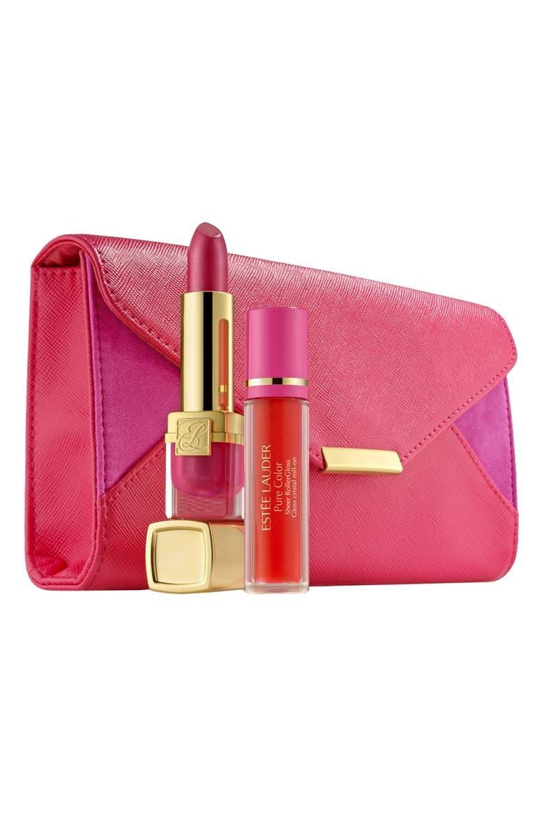 ESTÉE LAUDER 'Pink Ribbon Evelyn Lauder & Elizabeth Hurley Dream Collection' Lip Set, Main, color, 000
