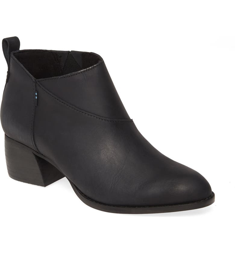 TOMS Leilani Bootie, Main, color, BLACK LEATHER