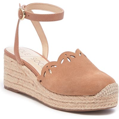 Sole Society Calysa Ankle Strap Espadrille Wedge, Brown