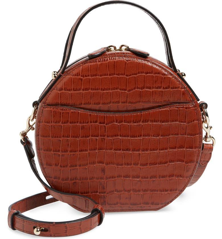 REBECCA MINKOFF Jody Croc Embossed Leather Circle Crossbody Bag, Main, color, ACORN