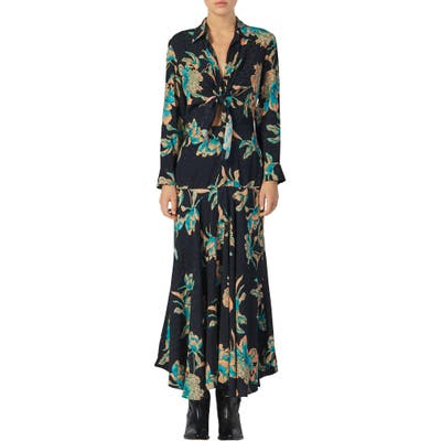 Sandro Blaire Floral Print Long Sleeve Dress, 6 FR - Black