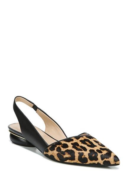 Image of Franco Sarto Rosaline Genuine Calf Hair Leopard Print Slingback Flat