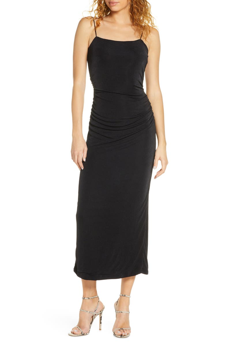 SIGNIFICANT OTHER Neptune Ruched Knit Midi Dress, Main, color, 001