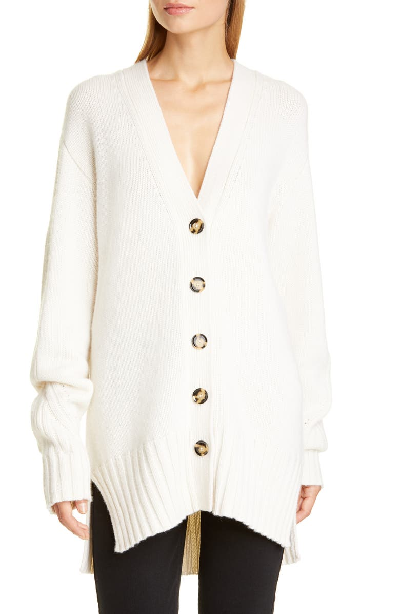 PROENZA SCHOULER High/Low Oversize Cashmere Cardigan, Main, color, IVORY