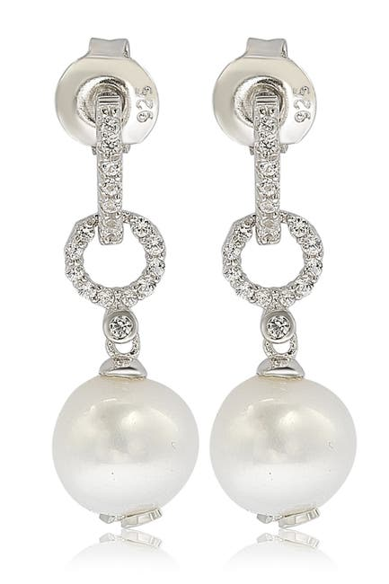 Image of Suzy Levian Sterling Silver 8mm Freshwater Pearl & Created Sapphire Hang Earrings