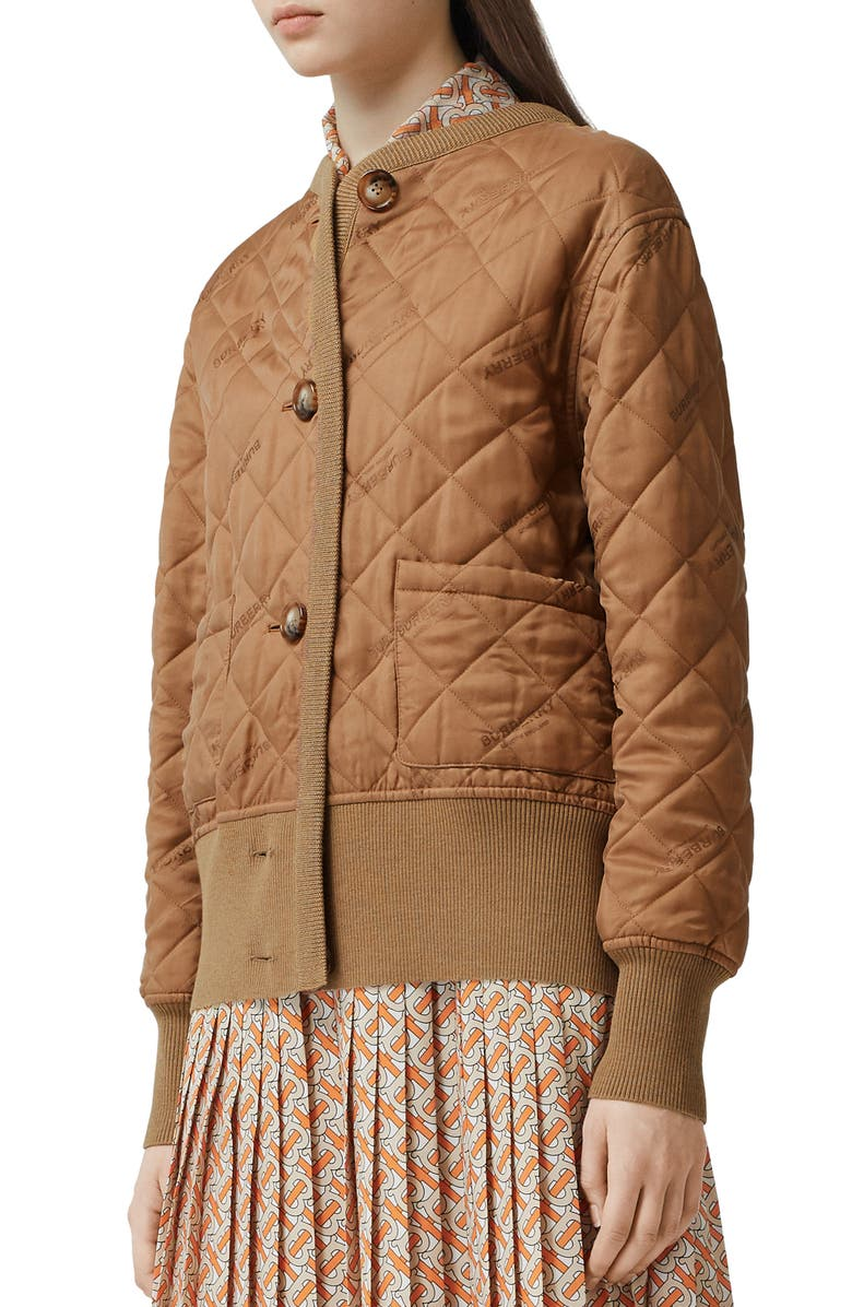 BURBERRY Nairn Quilt Front Logo Jacquard Sweater Jacket, Main, color, WARM CAMEL
