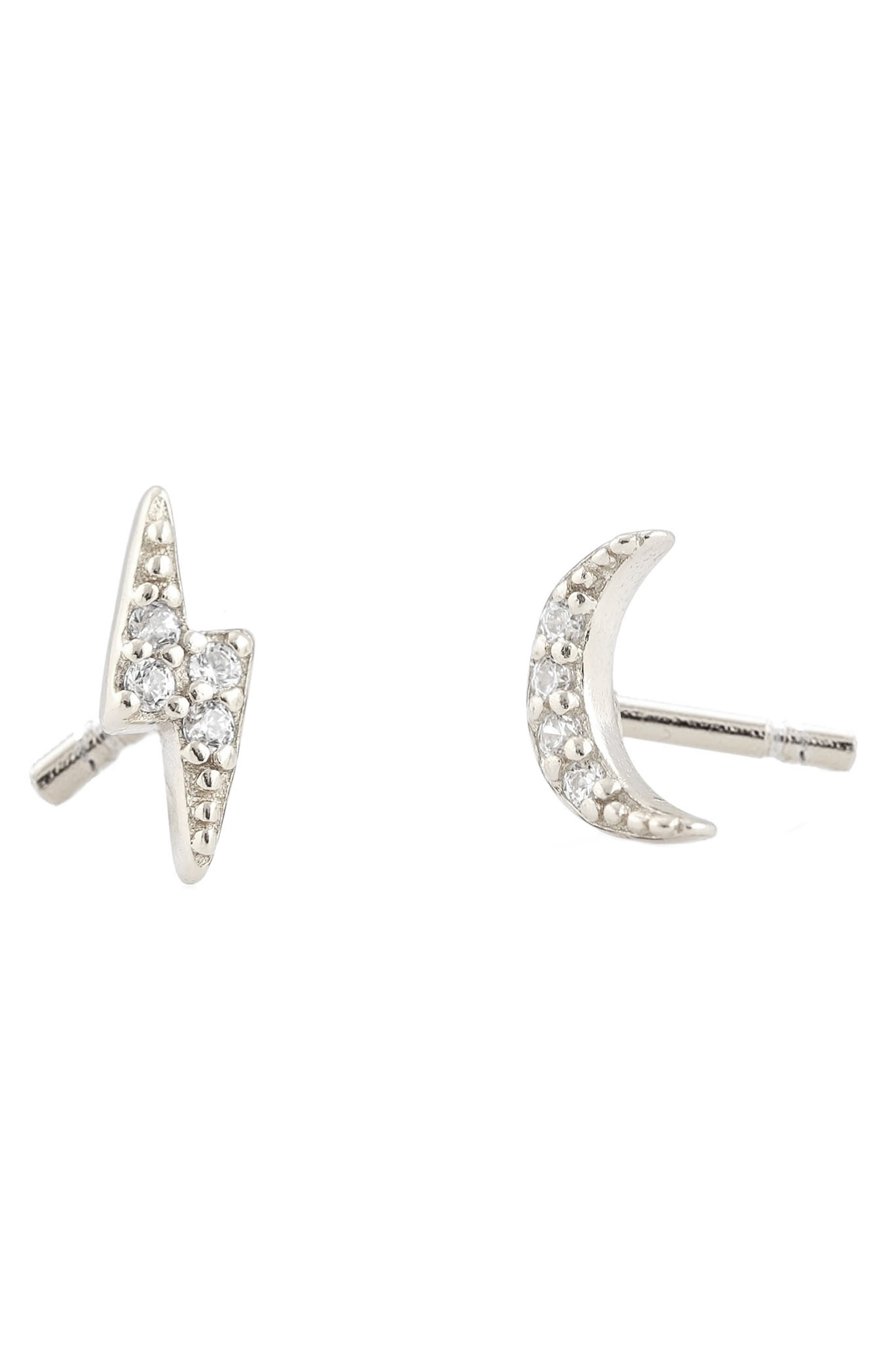 Lignting & Moon Mismatched Pave Stud Earrings