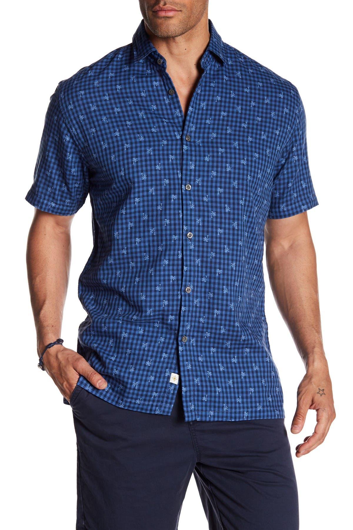 Image of COASTAORO Palmem Gingham Print Slim Fit Shirt