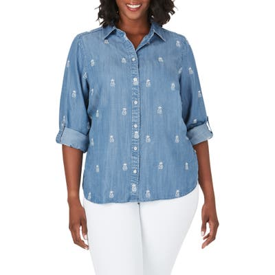 Plus Size Foxcroft Carmen Embroidered Pineapple Chambray Shirt, Blue