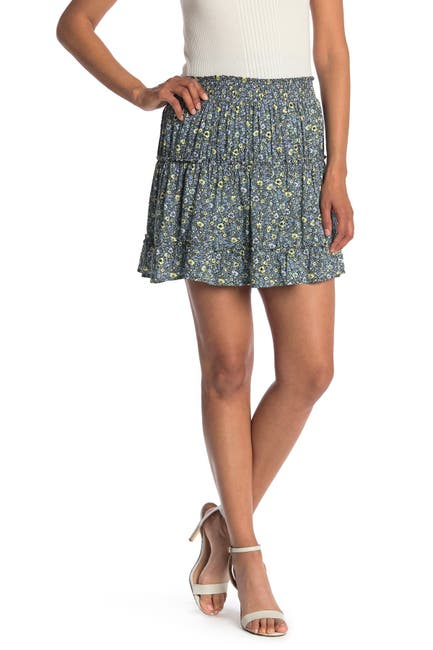 Image of Laundry By Shelli Segal Floral Tiered Mini Skirt