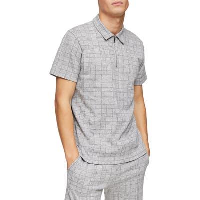Topman Glen Plaid Zip Polo, Grey
