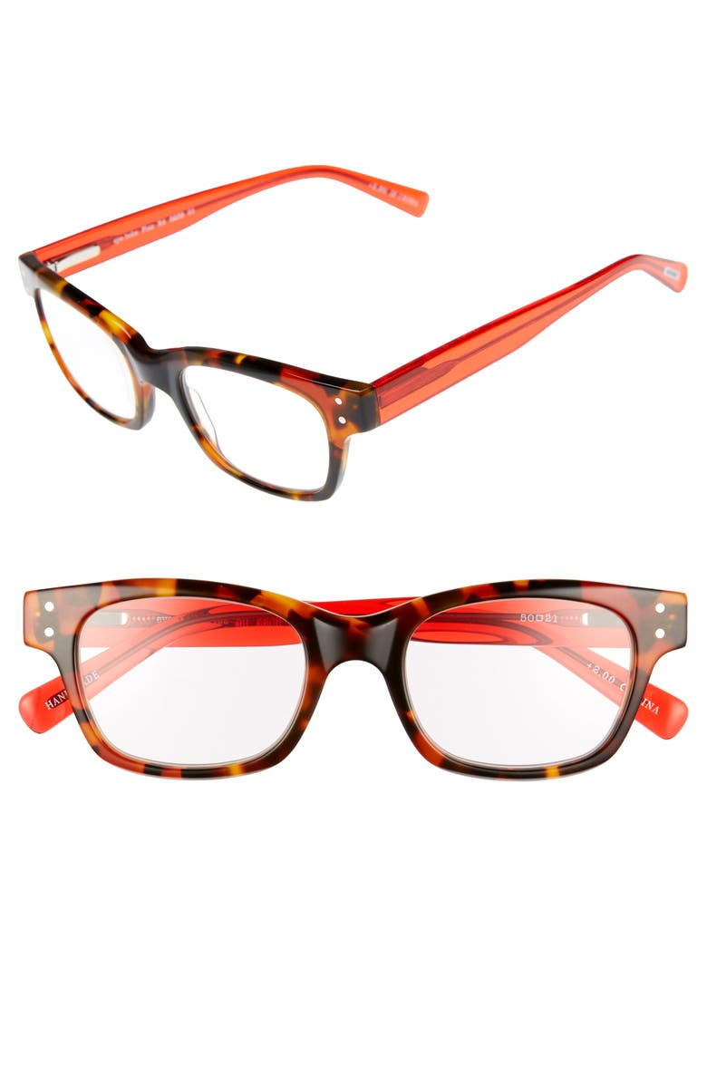 EYEBOBS Fizz Ed 50mm Reading Glasses, Main, color, TORTOISE WITH RED