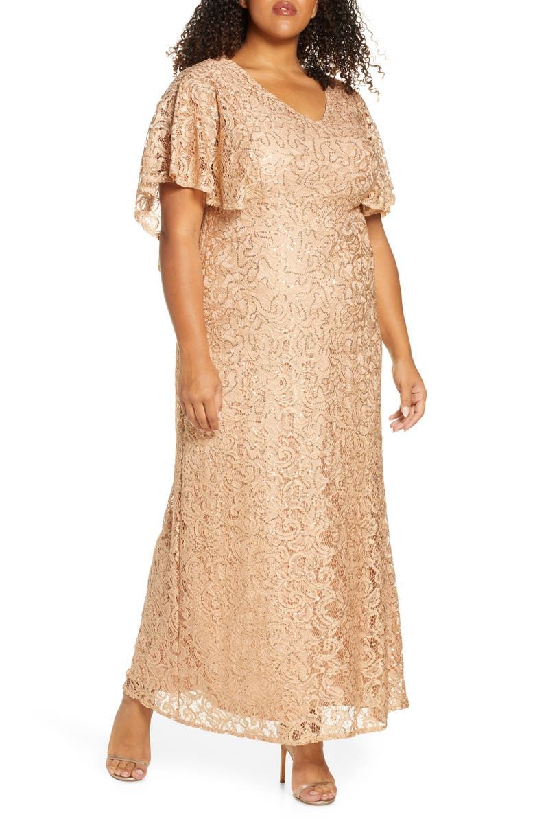 KIYONNA Celestial Cape Sleeve Lace Gown, Main, color, CHAMPAGNE
