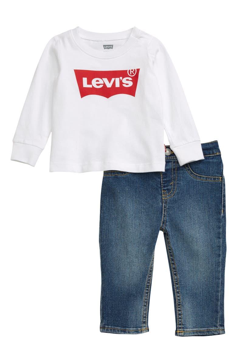 LEVI'S<SUP>®</SUP> Logo T-Shirt & Jeans Set, Main, color, 100