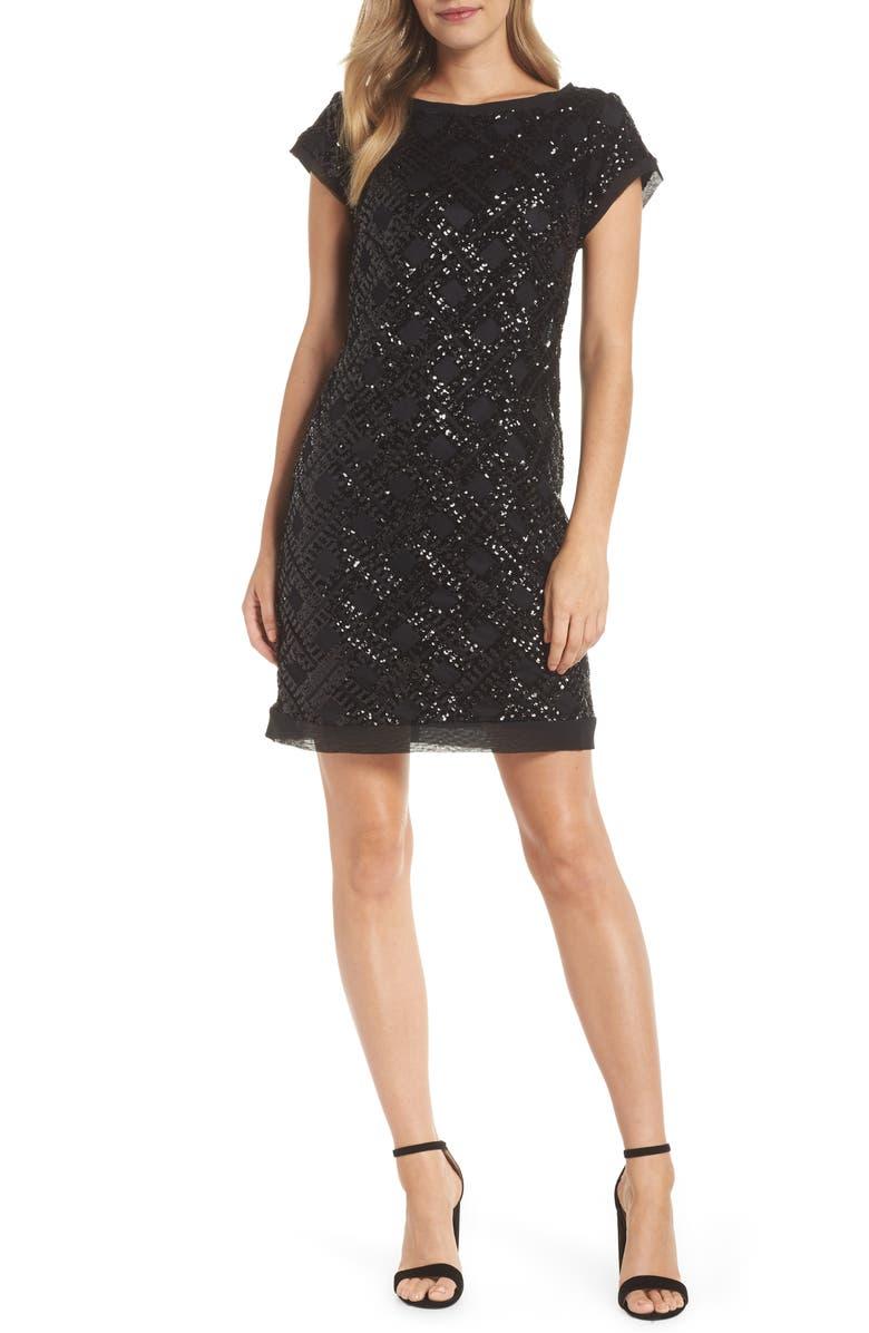 ELIZA J Sequin Sheath Dress, Main, color, BLACK