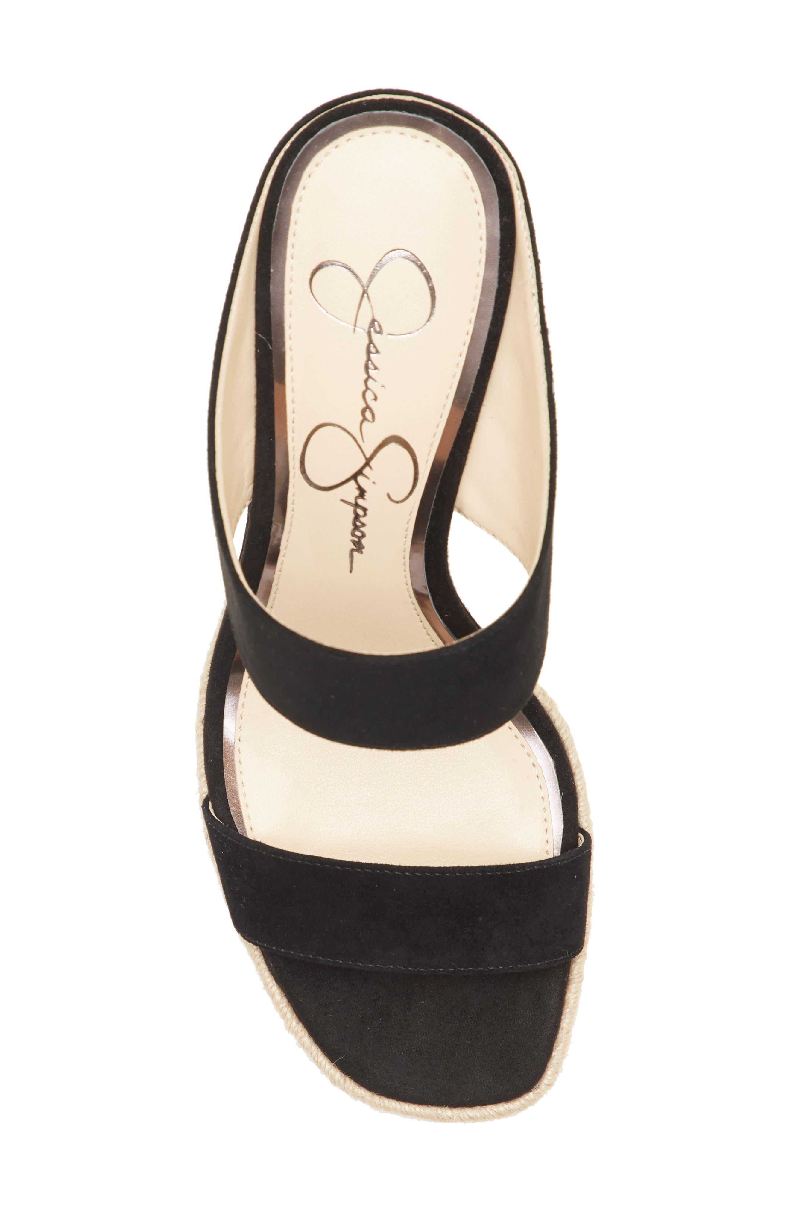 ,                             Siera Espadrille Wedge Slide Sandal,                             Alternate thumbnail 5, color,                             BLACK