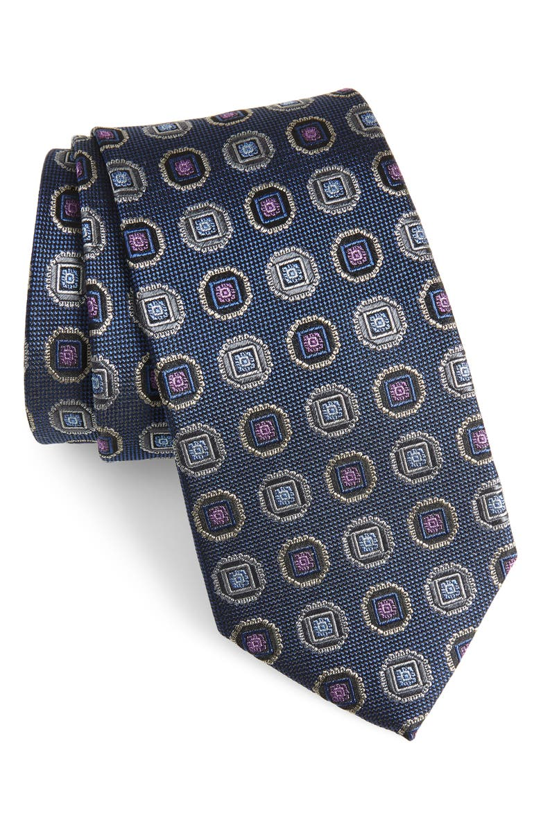NORDSTROM MEN'S SHOP Medallion Silk Tie, Main, color, NAVY