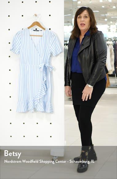 Helenmilo Stripe Wrap Linen Blend Dress, sales video thumbnail