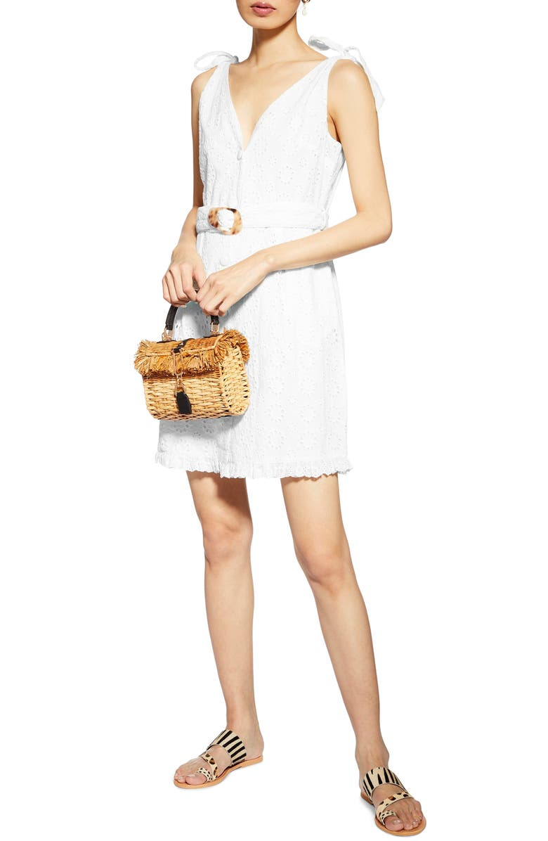 TOPSHOP Sleeveless Broderie Buckle Minidress, Main, color, WHITE