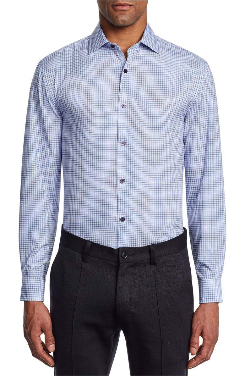 W.R.K Slim Fit Stretch Check Performance Dress Shirt, Main, color, BLUE PURPLE