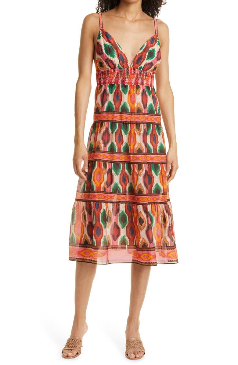 ALICE + OLIVIA Santina Cotton & Silk Midi Dress, Main, color, WARM BREEZE MULTI
