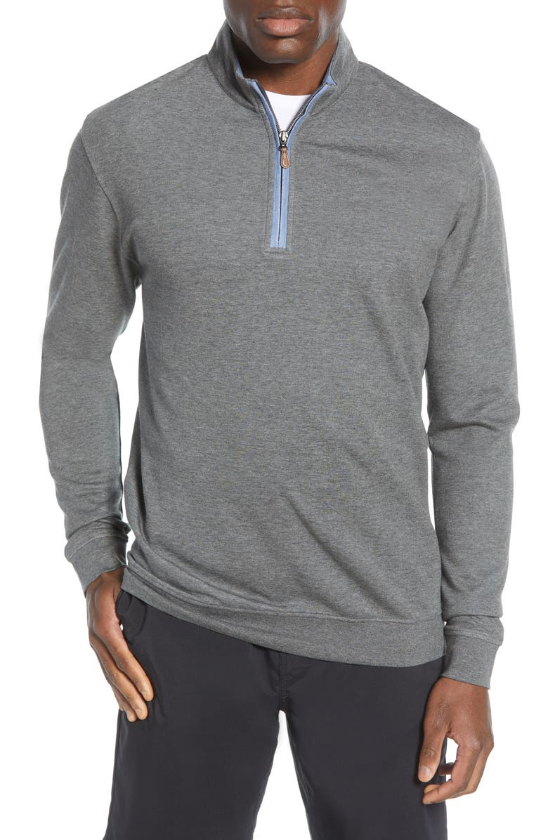 JOHNNIE-O Sully Quarter Zip Pullover, Main, color, CHARCOAL