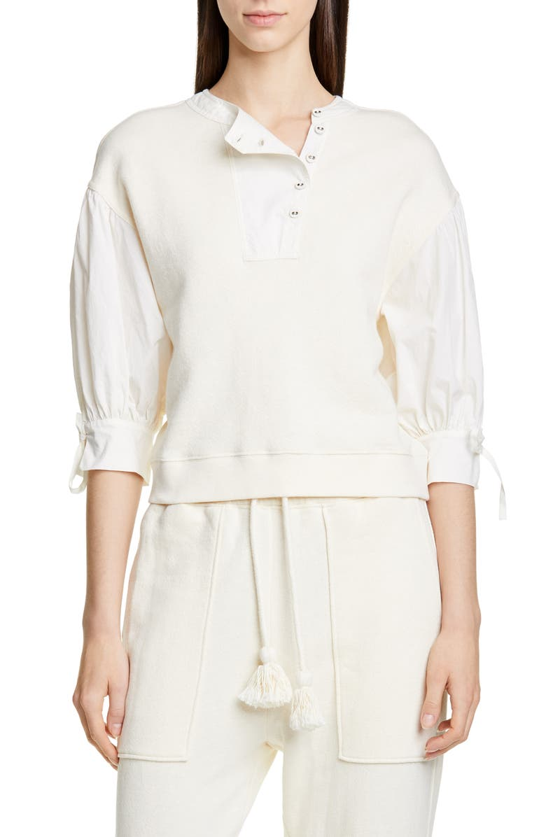 ULLA JOHNSON Riis Contrast Sleeve Top, Main, color, BLANC