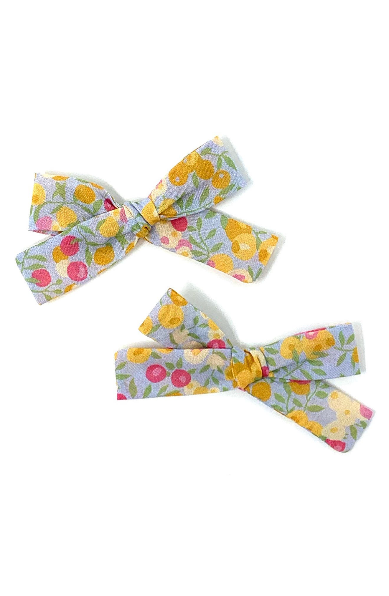Lululuvs 2Pack Skinny Ribbon Pigtail Bows Hair Clips Size One Size  Yellow