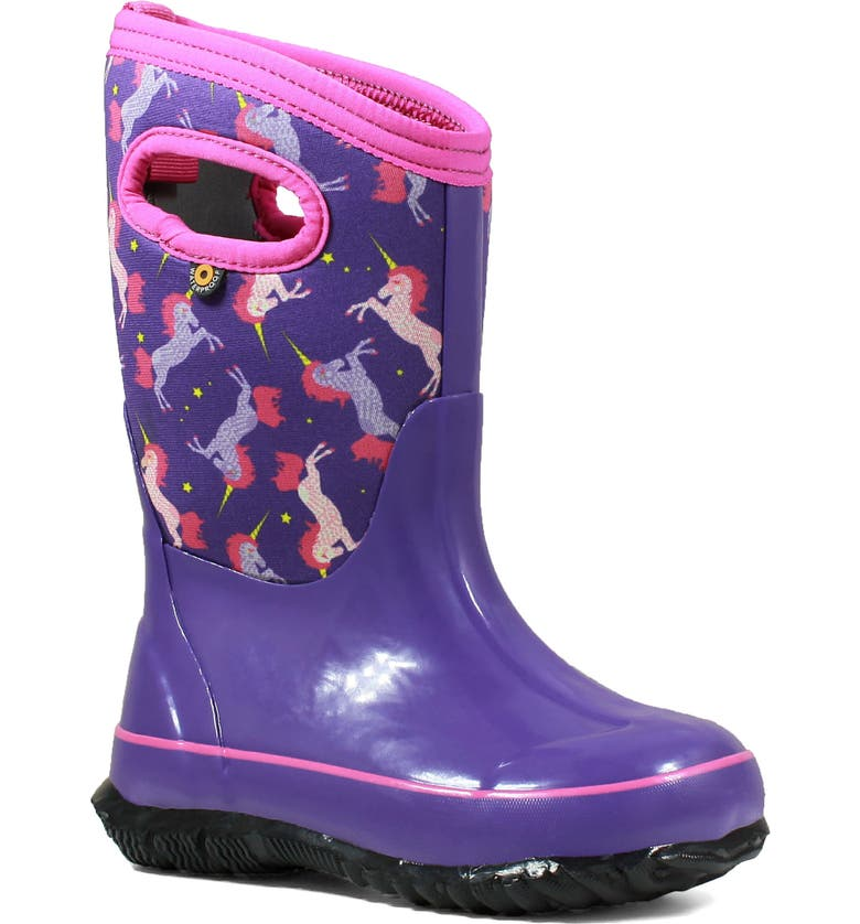BOGS Classic Unicorn Insulated Waterproof Rain Boot, Main, color, PURPLE MULTI