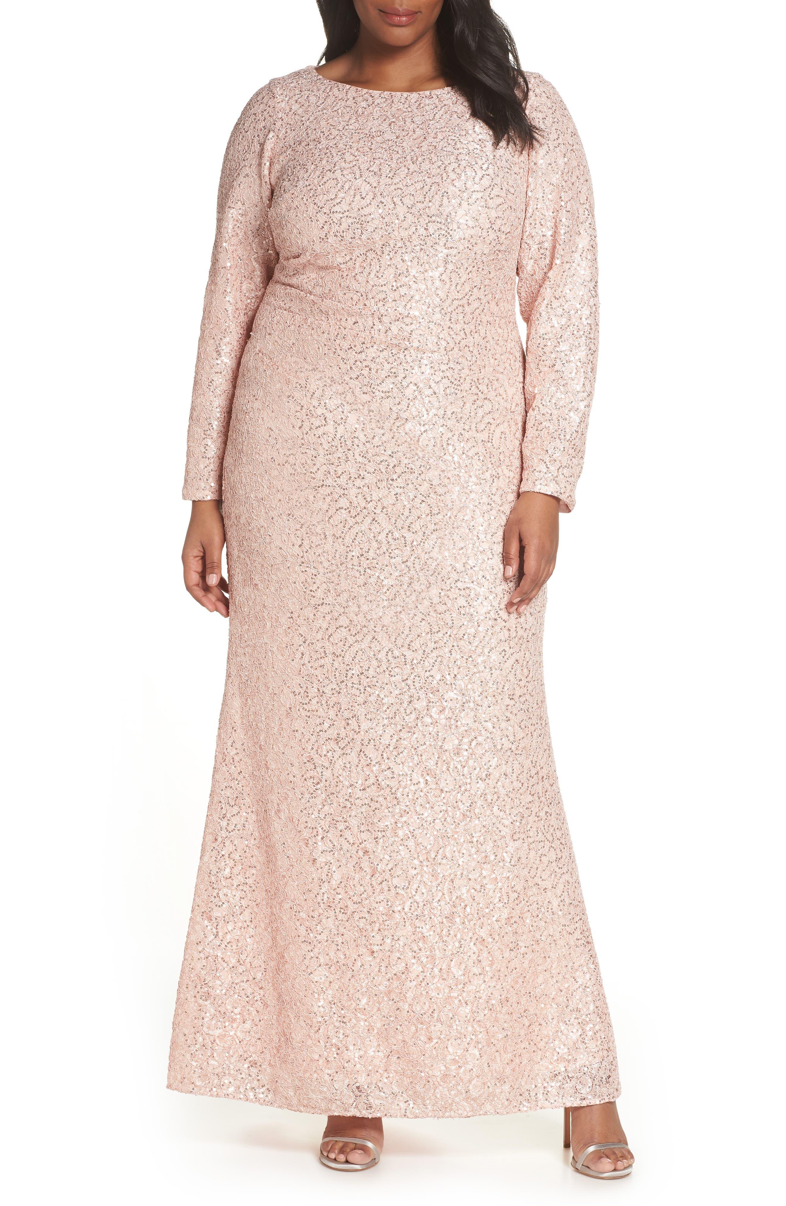 Sequin Lace Evening Dress, Main, color, BLUSH