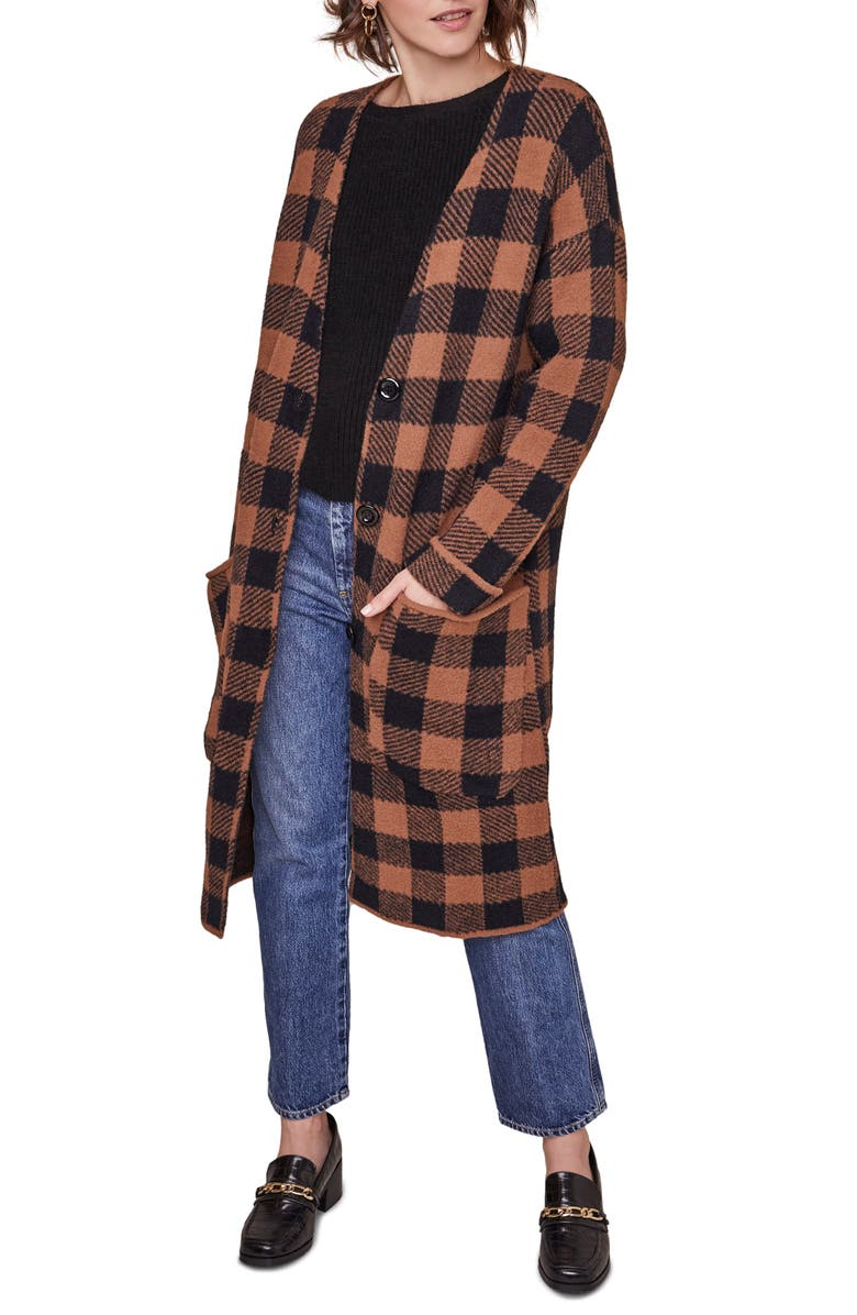 ASTR THE LABEL Checkmate Long Cardigan, Main, color, COCOA BLACK PLAID