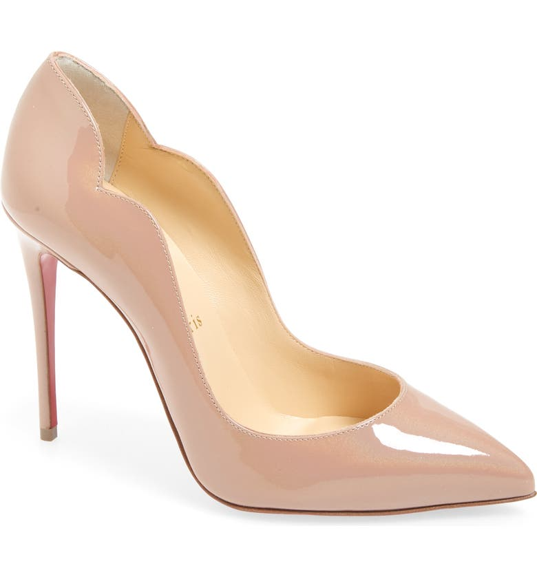 CHRISTIAN LOUBOUTIN Hot Chick Scalloped Pointed Toe Pump, Main, color, NUDE