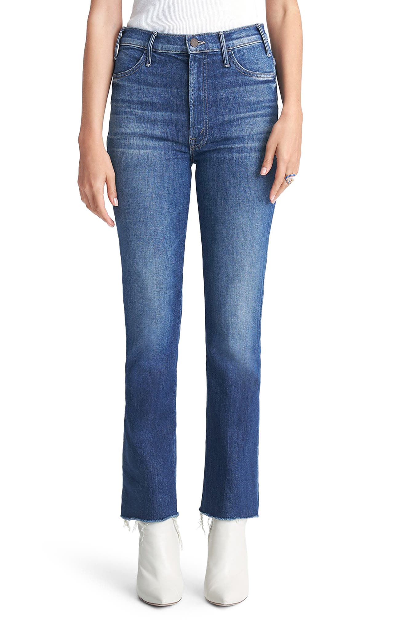 MOTHER The Hustler High Waist Fray Hem Ankle Bootcut Jeans (Right of Passage)