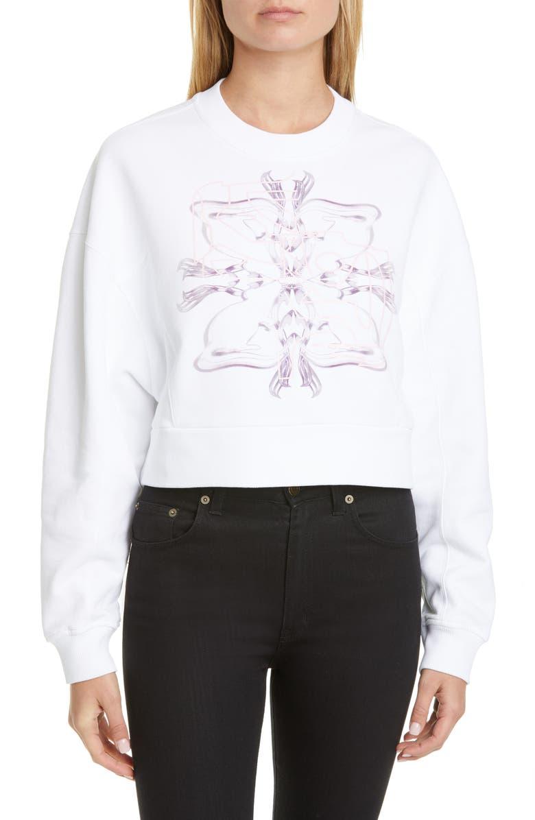 GIVENCHY Logo Crop Sweatshirt, Main, color, WHITE