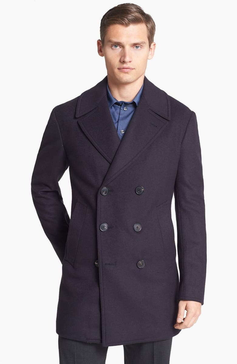 buy popular variety of designs and colors unique design Armani Collezioni Wool Blend Peacoat | Nordstrom