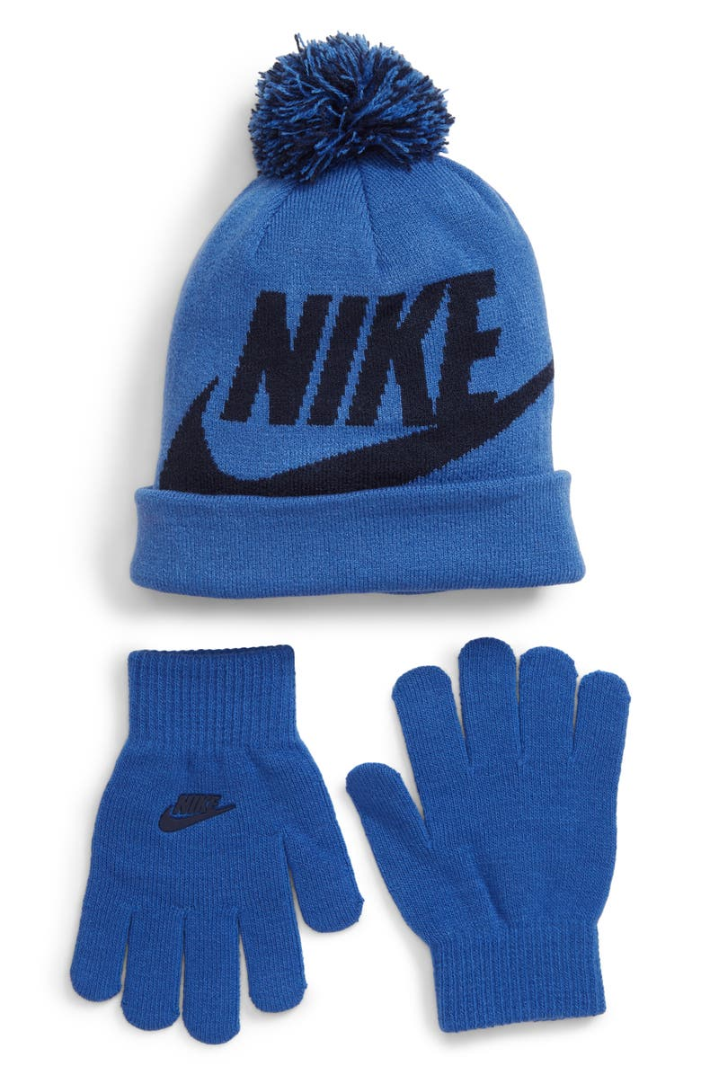 NIKE Swoosh Pom Beanie & Gloves Set, Main, color, MOUNTAIN BLUE