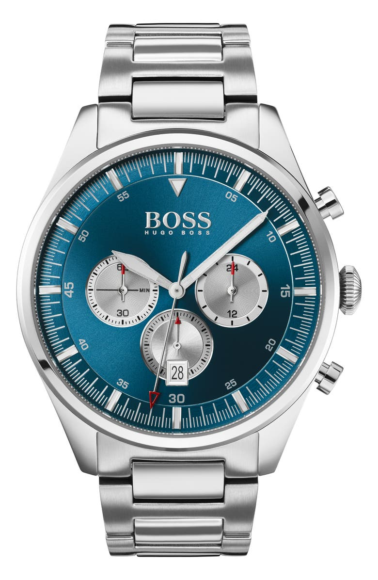 BOSS Pioneer Chronograph Bracelet Watch, 44mm, Main, color, SILVER/ BLUE/ SILVER